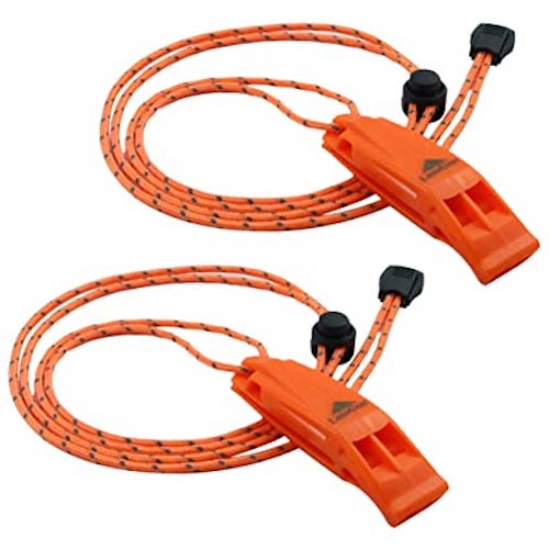 LuxoGear Emergency Whistles provide up to 120 dB of sound and come with lanyards.