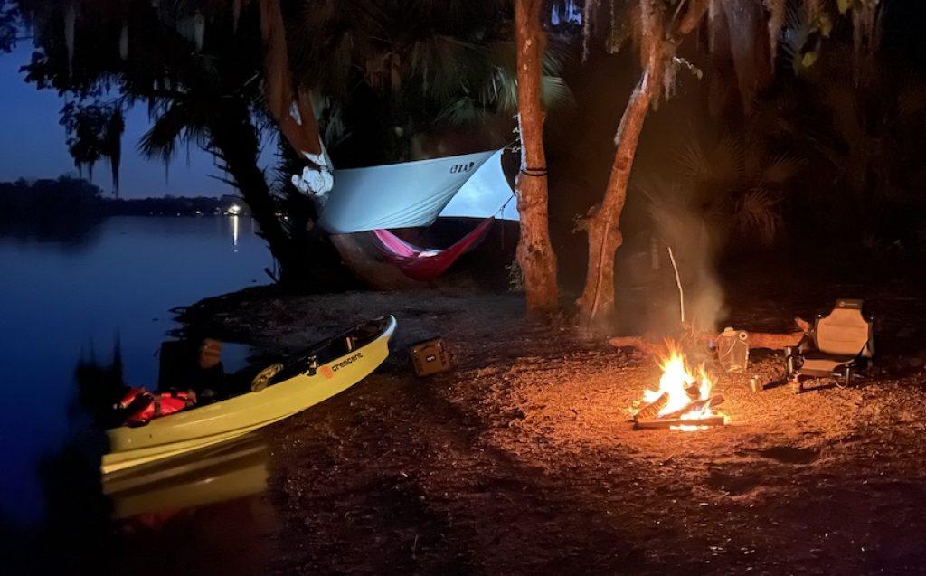 Crescent CK1 Venture kayak: camp by night
