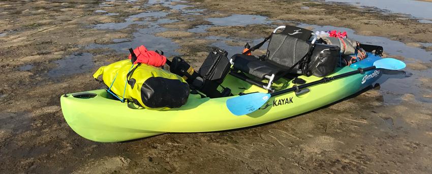 A heavily loaded kayak