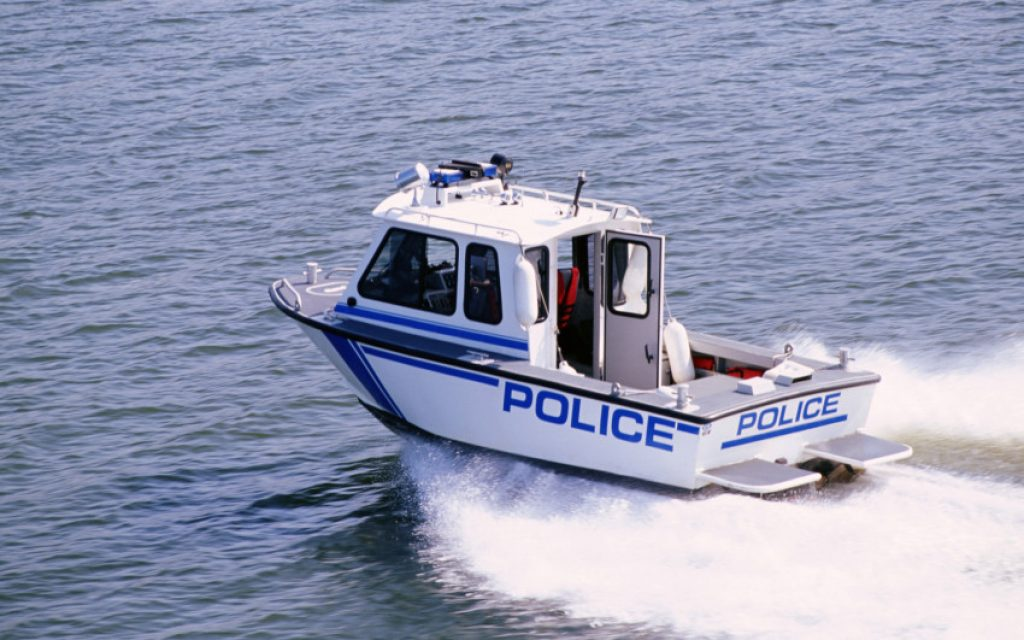 Police patrol boat on the water